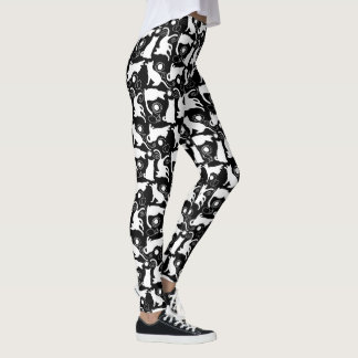 Playful Cats and Yarn White Silhouettes Leggings