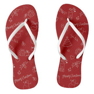 Playful Christmas Icons Flip Flops Thongs Slops