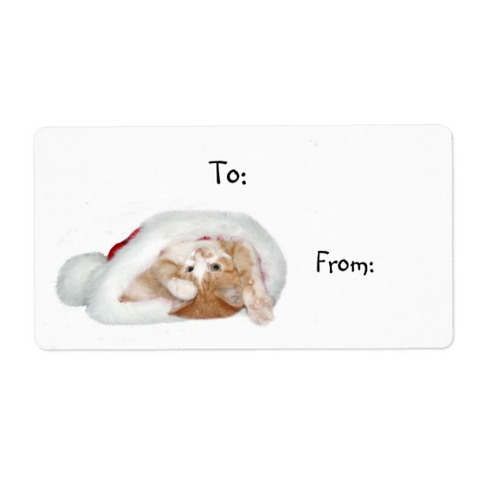 Playful Christmas kitten Shipping Label