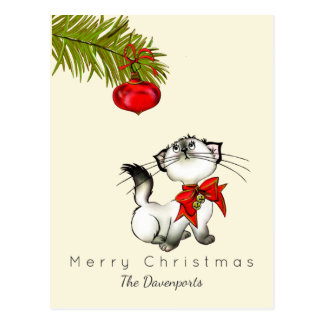 Playful Christmas Kitty With A Red Bow Postcard