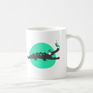 Playful Crocodile and Bird Coffee Mug