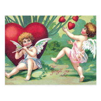 Playful Cupids Retro Cute Vintage Valentine Hearts Postcard