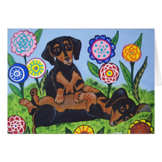 Playful Dachshunds Greeting Card
