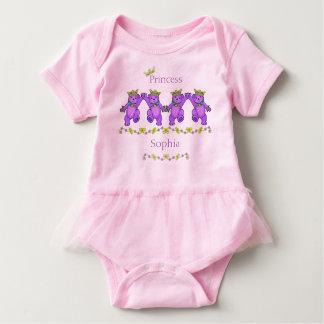 Playful Dancing Princess Bears Custom Name Baby Bodysuit