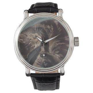 Playful Dave Black Vintage Leather Straped Watch