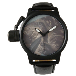 Playful Dave Crown Protector Black Leather Watch