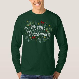 Playful Ditsy Merry Christmas Design Sleeve Shirt
