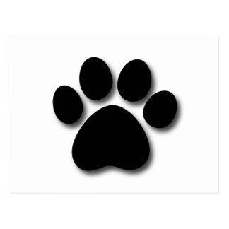 Playful Dog Paw Print for Dog Lover BLACK WHITE Postcard