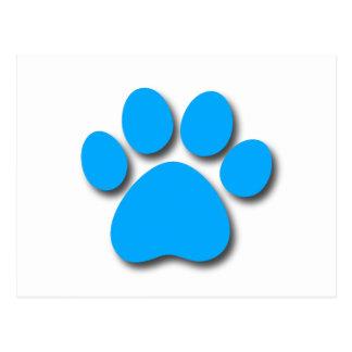 Playful Dog Paw Print for Dog Lover BRIGHT BLUE Postcard