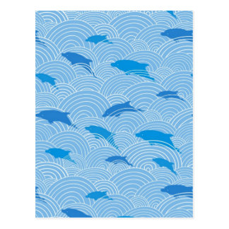Playful dolphines pattern postcard