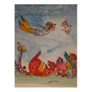 playful dragon postcard