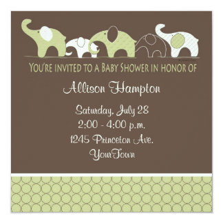 "Playful Elephant Baby Shower Invitations 5.25"" Square Invitation Card"