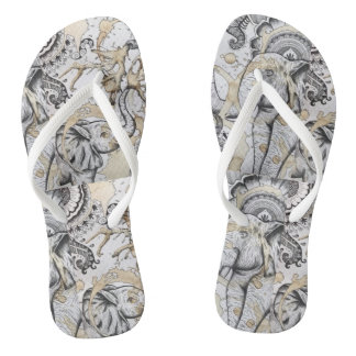 Playful Elephants Flip Flops
