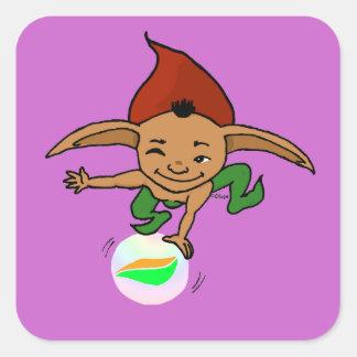 Playful goblin square sticker