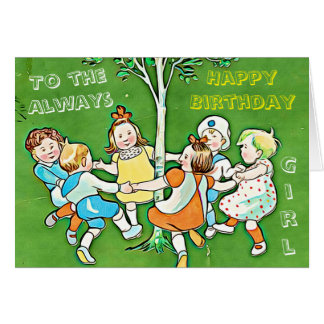 Playful green greeting card, happy birthday girl card