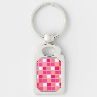 Playful Harlequin Lipstick Color Tiles Silver-Colored Rectangle Key Ring