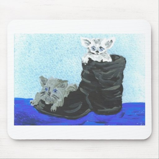 Playful Hide and Seek Kittens Mouse Mat