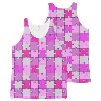 Playful Jigsaw Puzzle Pink Pieces All-Over Print Tank Top