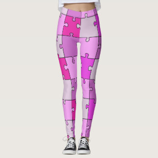 Playful Jigsaw Puzzle Pink Tones Leggings