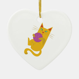 Playful Kitten Ceramic Heart Ornament