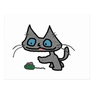 Playful Kitty And His Mouse Toy Postcards