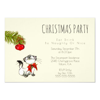 Playful Kitty Cat Christmas Party Invite