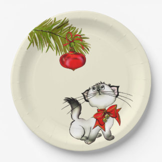 Playful Kitty Cat In A Red Christmas Bow 9 Inch Paper Plate
