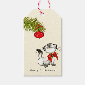 Playful Kitty Cat In A Red Christmas Bow Gift Tags