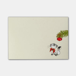 Playful Kitty Cat In A Red Christmas Bow Post-it® Notes