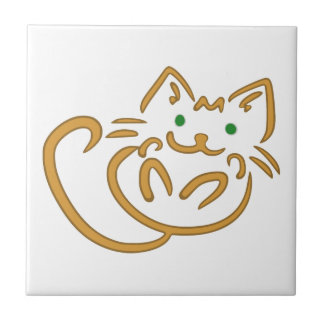 Playful Kitty Small Square Tile