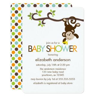 Playful Monkey Baby Shower 13 Cm X 18 Cm Invitation Card