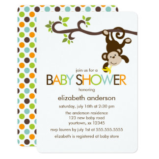 Playful Monkey Baby Shower Card