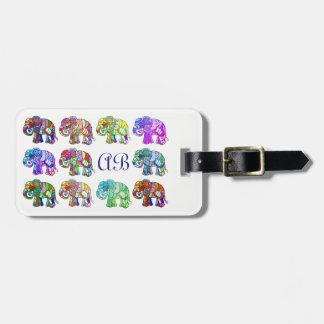 Playful monogram colorful ornamental elephants luggage tag