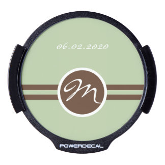 Playful Monogram in Sage Green and Brown LED Decal LED Window Decal