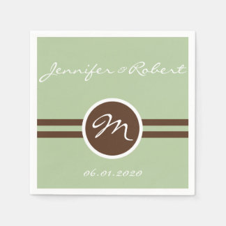 Playful Monogram in Sage Green and Brown Napkin Disposable Napkins