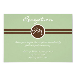 """Playful Monogram in Sage Green and Brown Reception 3.5"""" X 5"""" Invitation Card"""