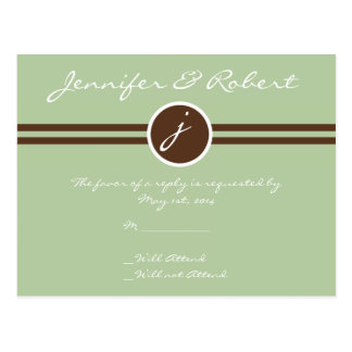 Playful Monogram in Sage Green and Brown RSVP Post Post Cards