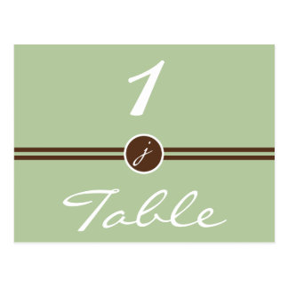 Playful Monogram in Sage Green and Brown Table Num Post Card