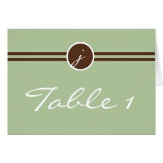 Playful Monogram in Sage Green Brown Table Number