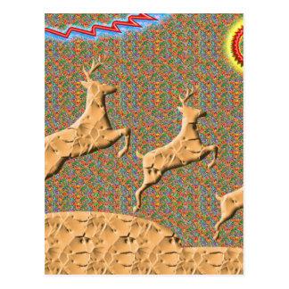 Playful n Racing Deers Postcard
