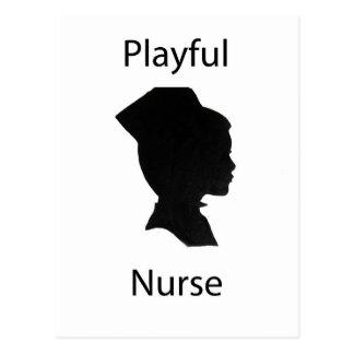 playful nurse post card