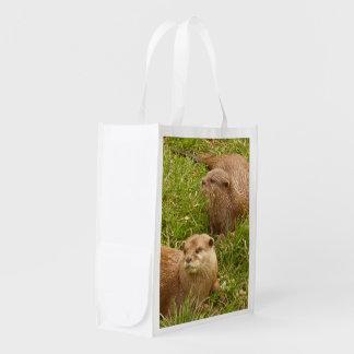 Playful Otter Photo Image Reusable Fabric Bag