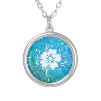 Playful Pansy - reverse aquamarine dreams Silver Plated Necklace
