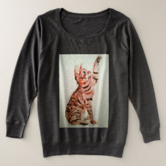 Playful pet, kitty playing plus size sweatshirt