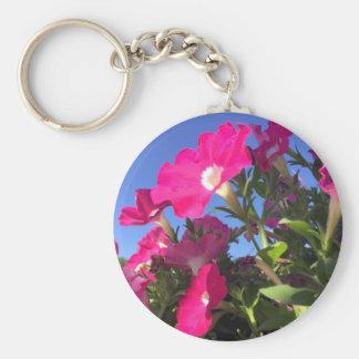 Playful Petunias Collection Basic Round Button Key Ring