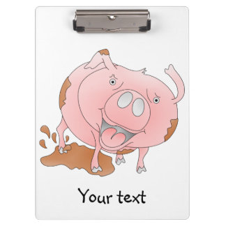 Playful pig in muddy puddle clipboard