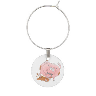 Playful pig in muddy puddle wine glass charm