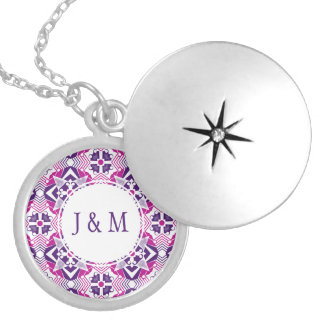 Playful pink purple and white kaleidoscope design personalized necklace