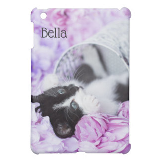 "Playful ""Pippa"" Purple Floral kitten iPad Mini Cases"