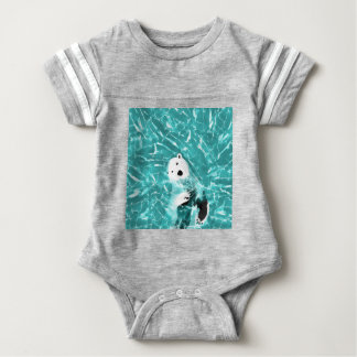 Playful Polar Bear In Turquoise Water Design Baby Bodysuit